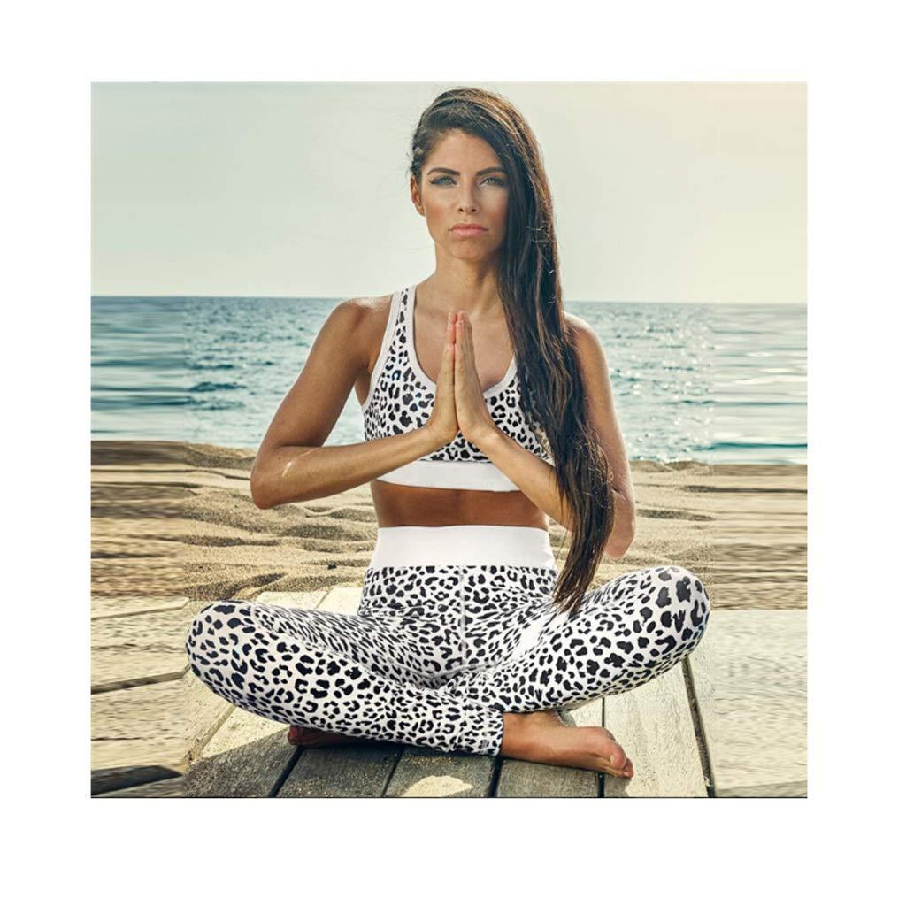 Lilongjiao Ensemble de yoga pour femmes ensemble de sport Ensemble de yoga imprim/é Fitness Fitness Wear Pantalon de yoga /à taille haute