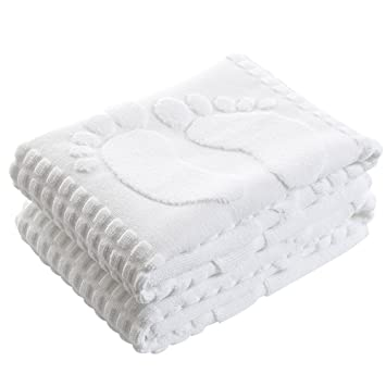 kaimao 2 pcs algodón lavable alfombra de baño antideslizante regla toallas para salón o dormitorio baño 19,7 x 31,5 pulgadas - Blanco: Amazon.es: Hogar