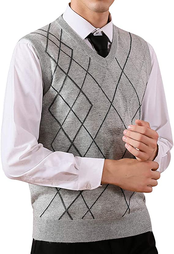 Press Men/'s Argyle Knit Sweater Vest Cream Blue Sz L NWT 95 J