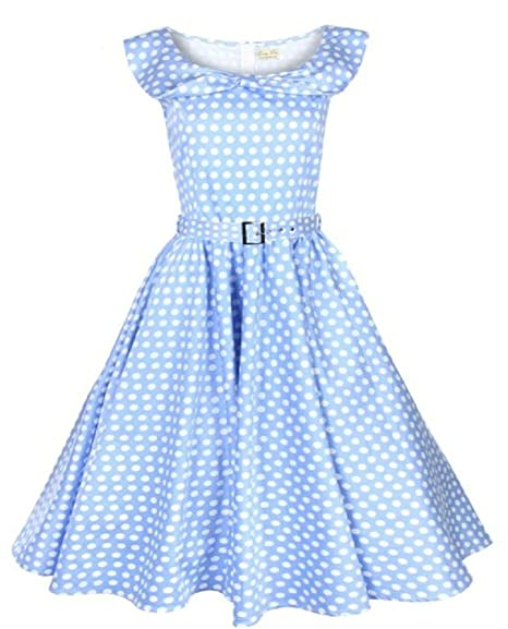 dbdf675aa2a0 Lindy Bop 'Marylou' Classy Bow Shawl Collar Sky Blue Polka Dot Vintage  1950'S Rockabilly Party Dress (XXXX-Large) at Amazon Women's Clothing store: