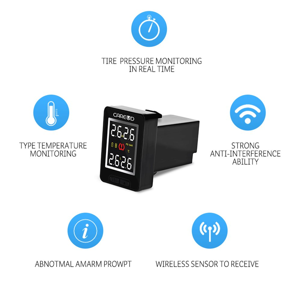 For Honda, w//4pcs internal sensors//battery replaceable U912 Tire Pressure Monitor System TPMS Real Time Pressure Temperature 4pcs RF Sensors Internal//External Blind Hole for Toyota 5 year Battery