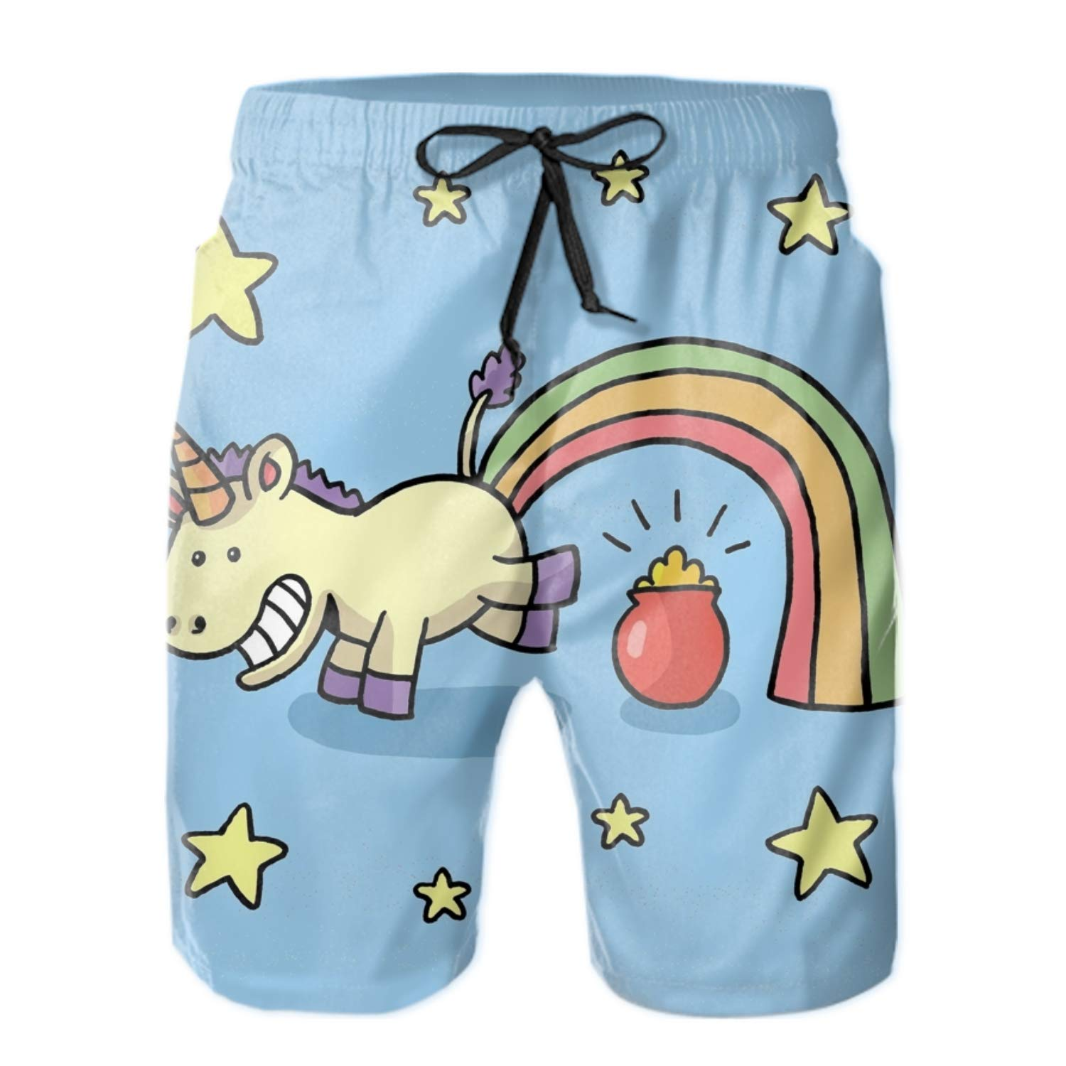 Mens Quick Dry Swim Trunks Cartoon Unicorn Beach Shorts Sports Running Board Shorts