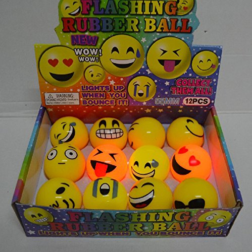 LED Light Up Flashing Bouncing Balls Party Favors - Various Ball Styles by Mammoth Sales (Emoji)