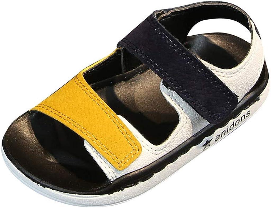 SMajong Enfant Sandales Bout Ferm/é en Cuir Sandales de Sport Antid/érapante Garcon Respirantes Taille 21-30 EU