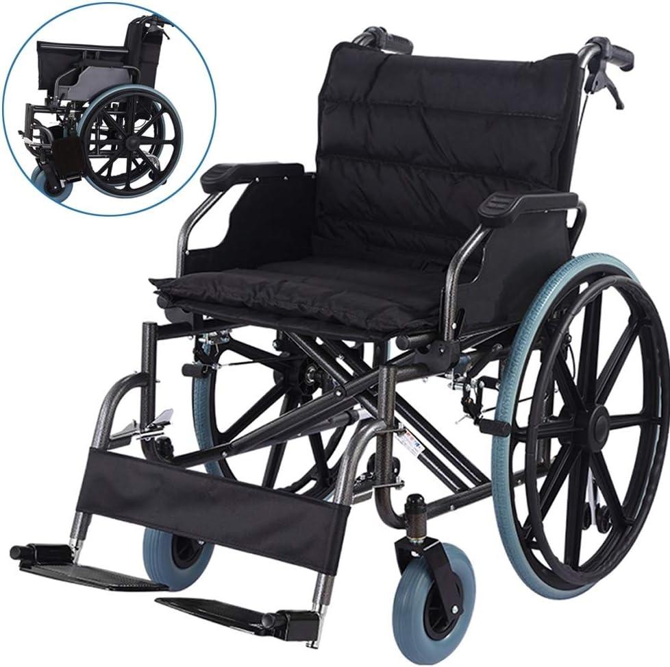 Xink-Wheelchairs Estándar Ligero Silla de Ruedas Plegable con Brazos Inclinados y Desmontable Extra Grande con Silla de Ruedas de Peso Pesado Engrosamiento Ampliación de Carga 180kg Negro