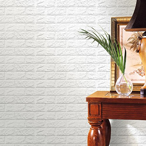 KESEE PE Foam 3D Wallpaper DIY Wall Stickers Wall Decor Embossed Brick Stone (White)