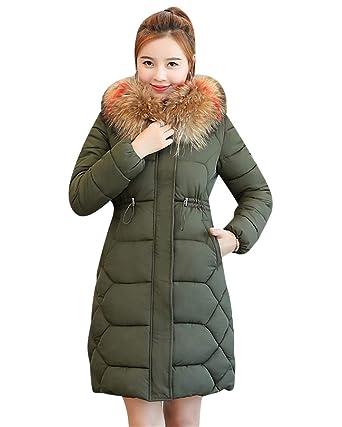 MISSMAO Womens Winter Outwear Packable Down Jacket Long Lightweight Hooded  Coat Army Green XS 968e125c82
