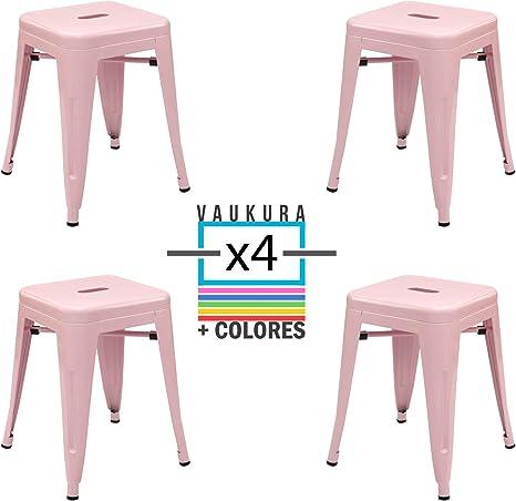 Vaukura Taburete Bajo Tolix (Pack 4) - Taburete Industrial Metálico Brillo (Rosa): Amazon.es: Hogar