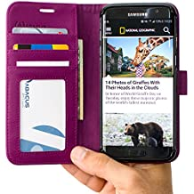 Abacus24-7 Synthetic Leather Folio Wallet and Case for Samsung Galaxy S7 Edge - Purple