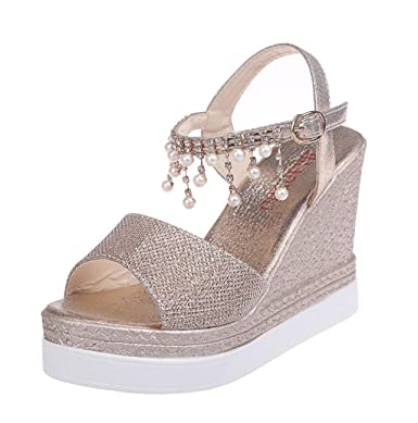 65f117ac912 Amazon.com  Women Sweet Peep Toe High Wedge Platform Heeled Ankle Strap  Buckle Sandals Crystal Tassel Shoes JHKUNO  Clothing