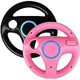 Generic 2 x pcs Pink Black Steering Mario Kart Racing Wheel for Nintendo Wii Remote Game