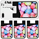 Liili Phone Card holder sleeve/wallet for iPhone Samsung Android and all smartphones with removable microfiber screen cleaner Silicone card Caddy(4 Pack) ID: 25668825 Easter eggs decorated with daisi
