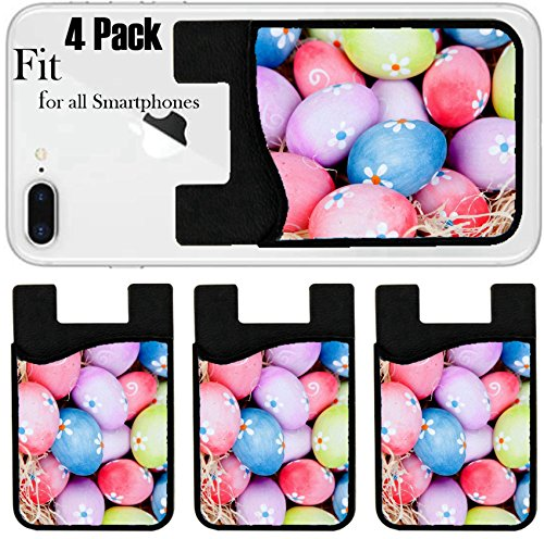 Liili Phone Card holder sleeve/wallet for iPhone Samsung Android and all smartphones with removable microfiber screen cleaner Silicone card Caddy(4 Pack) ID: 25668825 Easter eggs decorated with daisi by Liili