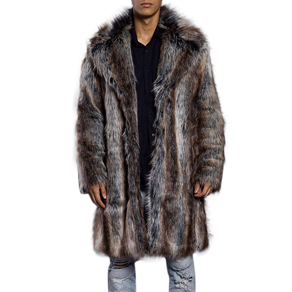 GREFER Clearance Mens Warm Thick Fur Collar Coat Jacket Faux Fur Parka Outwear Cardigan