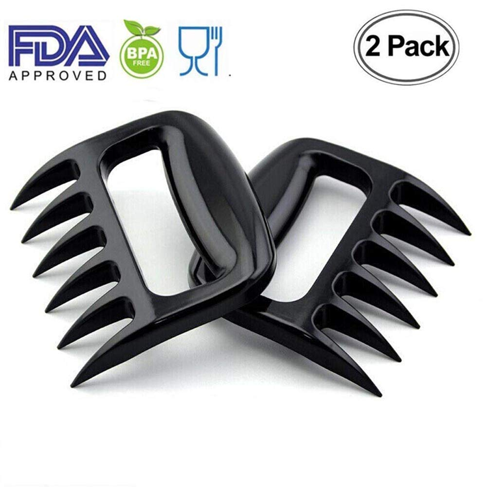Strong Bear Meat Claws, 2 Packs Pulled Pork Meat Shredder, BBQ Forks Claws for Barbecue, Smoker, Grill, Beef, Chicken, Thanksgiving Day, Christmas, Black fufcu claw