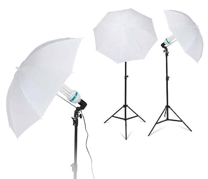 Kenley Kit Profesional - Pack de 3 Fondos para Estudio fotográfico (con Soporte de 2 x 3 Metros, Kit de iluminación, Paraguas): Amazon.es: Electrónica