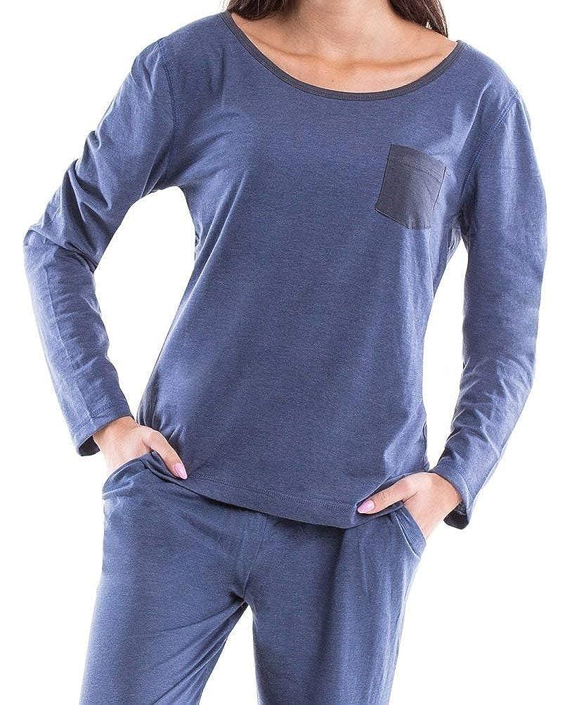 6ceb6b7ae3a6c5 Moonline Moderner und Bequemer Damen Pyjama/Shorty / Capri Schlafanzug, mit Weicher  Baumwolle, größeres Bild