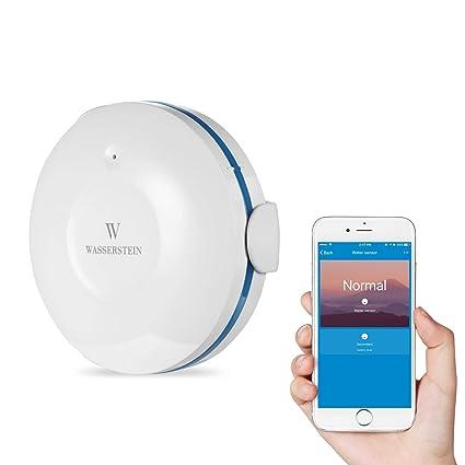 Wasserstein WiFi Water Leak Sensor, Smart Flood Detector (1-Pack, White)