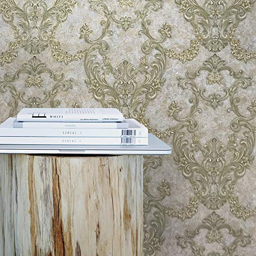 113 sq.ft rolls Embossed Vinyl Non-Woven Slavyanski wall coverings victorian damask 3D vintage pattern Wallpaper gray brown gold bronze metallic textured rust rustic plaster effect paste the wall only