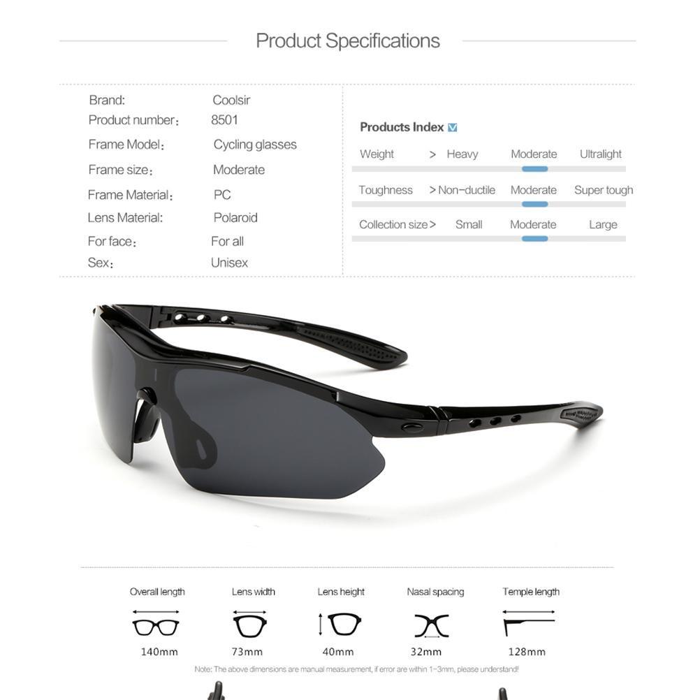 Coolsir 8501 Polarized Sports Hommes Lunettes De Soleil Pour Ski Conduite Golf Running Cyclisme Superlight Cadre Conception Pour Hommes Et Femmes , White