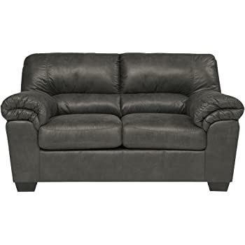 Ashley Furniture Signature Design   Bladen Contemporary Plush Upholstered  Loveseat   Slate Gray