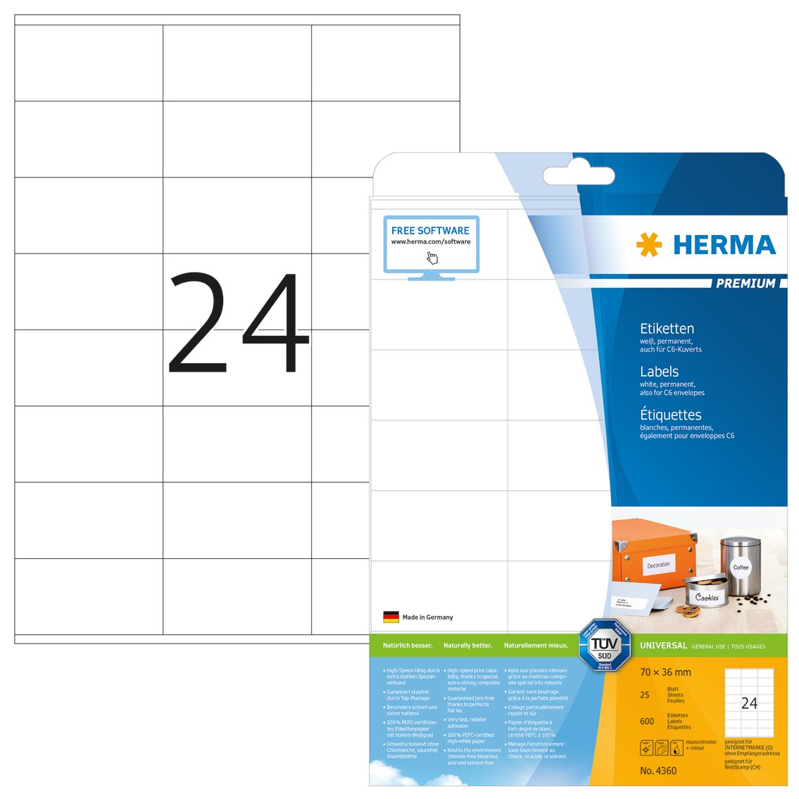 70x36mm Herma SuperPrint