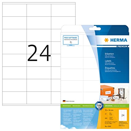 Herma 4360 Universal Etiketten Din A4 70 X 36 Mm 25 Blatt Papier Matt Selbstklebend Bedruckbar Permanent Haftende Adressaufkleber 600