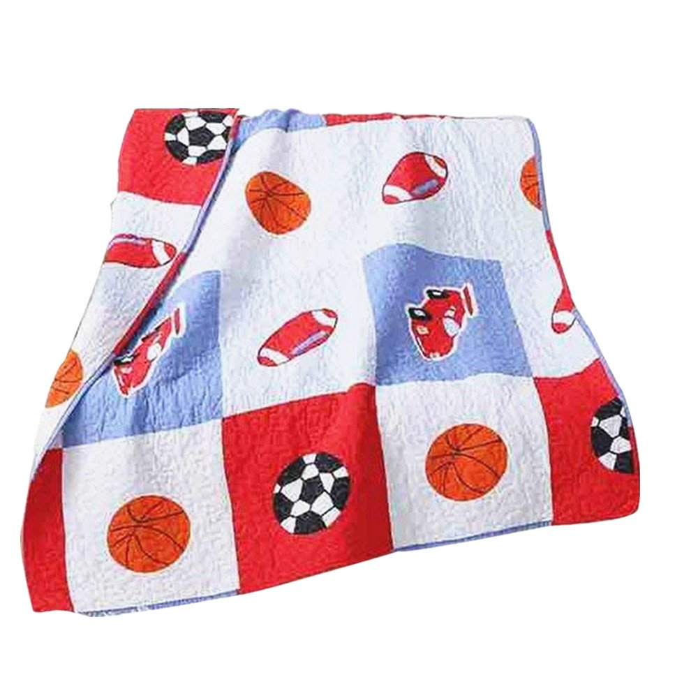 Abreeze Balls Quilt Basketball Baseball Printed Coverlet Quilt Bedspread Throw Blanket for Kid's Girl & Boys Bed Gift 100% Natural Cotton 43'' X 51''