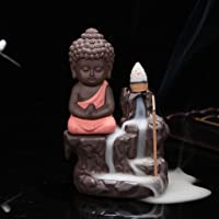 eCraftIndia Meditating Monk Buddha Smoke Backflow Cone Decorative Incense Holder (7 cm x 7 cm x 12, Red)