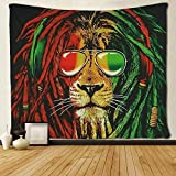 SARA NELL Reggae Rasta Lion Tapestry Art Wall Hippie Art Lion King Tapestries Wall Hanging Throw Tablecloth 50X60 Inches for Bedroom Living Room Dorm Room