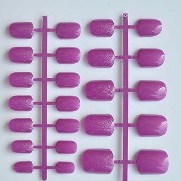 Pestañas postizas de uñas postizas para mujer de 2016, punta redonda con purpurina, color