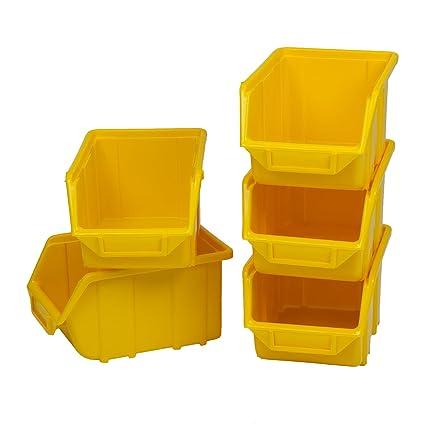 Patrol Group Visión Cajas apilables Cajas de almacenamiento Calidad Industrial, Amarillo, ECOSREZOLPG001