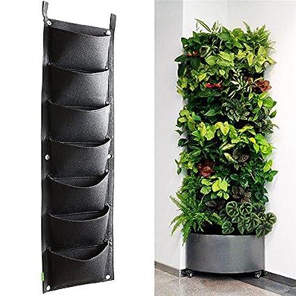 Yunhigh supporto a parete con 4 tasche per fiori o piante, per ...