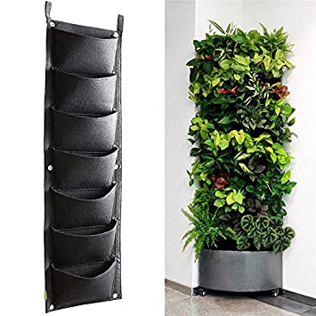 Yunhigh 7 pocket vertical wall mounted rattan garden planters yunhigh 7 pocket vertical wall mounted rattan garden planters outdoor indoor garden grow bags hanging flower workwithnaturefo