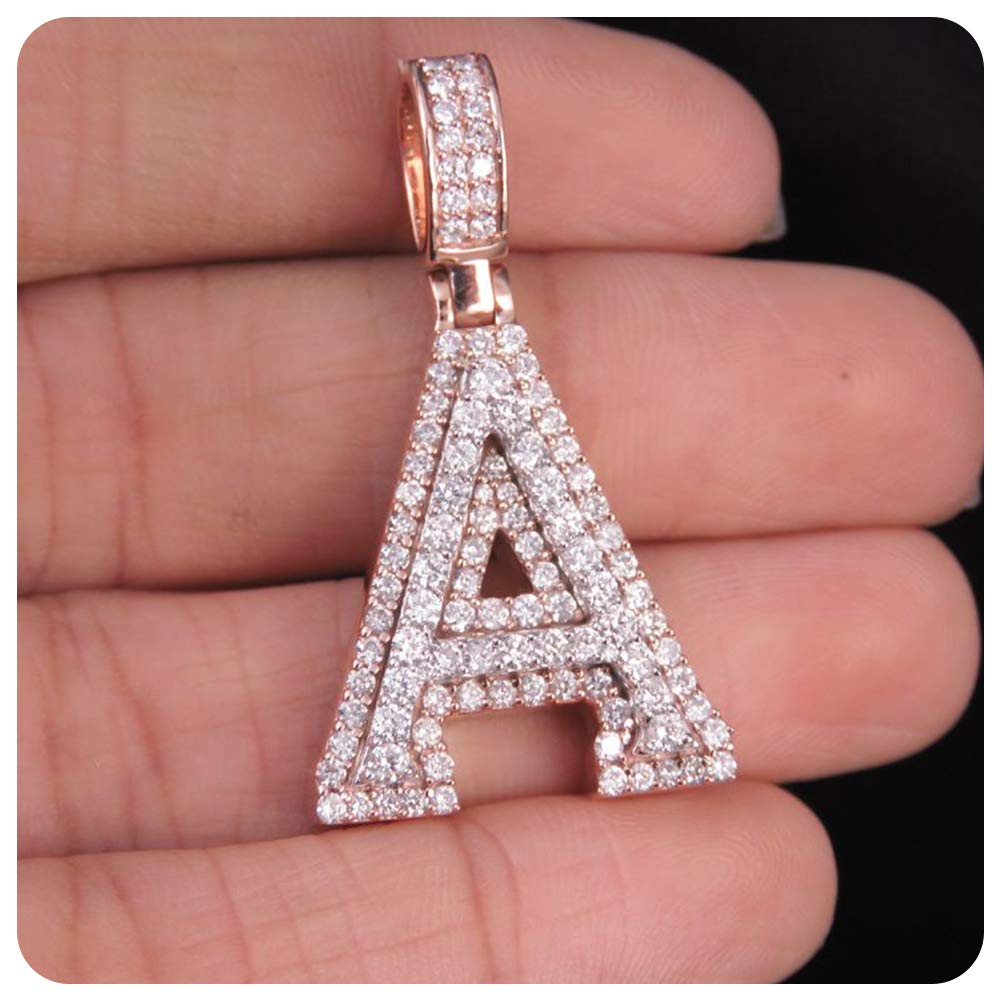 RUDRAFASHION Round Cut Diamond 14k Rose Gold Plated Initial Alphabets Pendant A Alphabets for Womens Girls