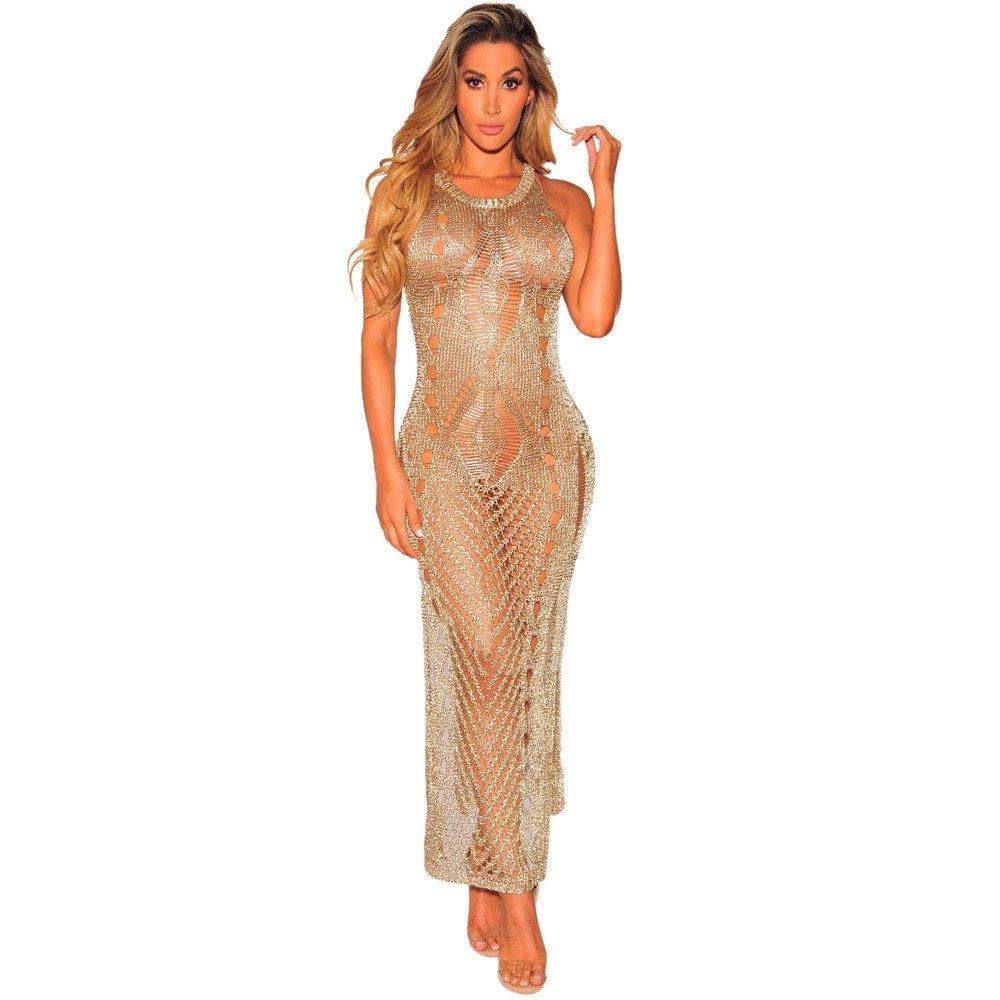 JESPER Sexy Women Sleeveless Beach Bikini Knitting Smock Split Hollow Long Dress Gold