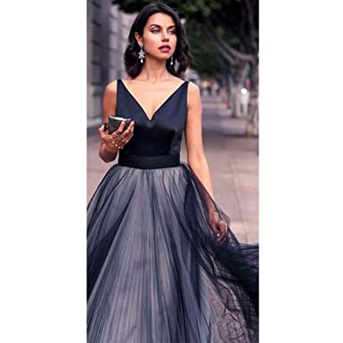 TTYbridal Satin V Neck Prom Dresses Long Tulle Formal Eveing Party Gowns - Black - 22
