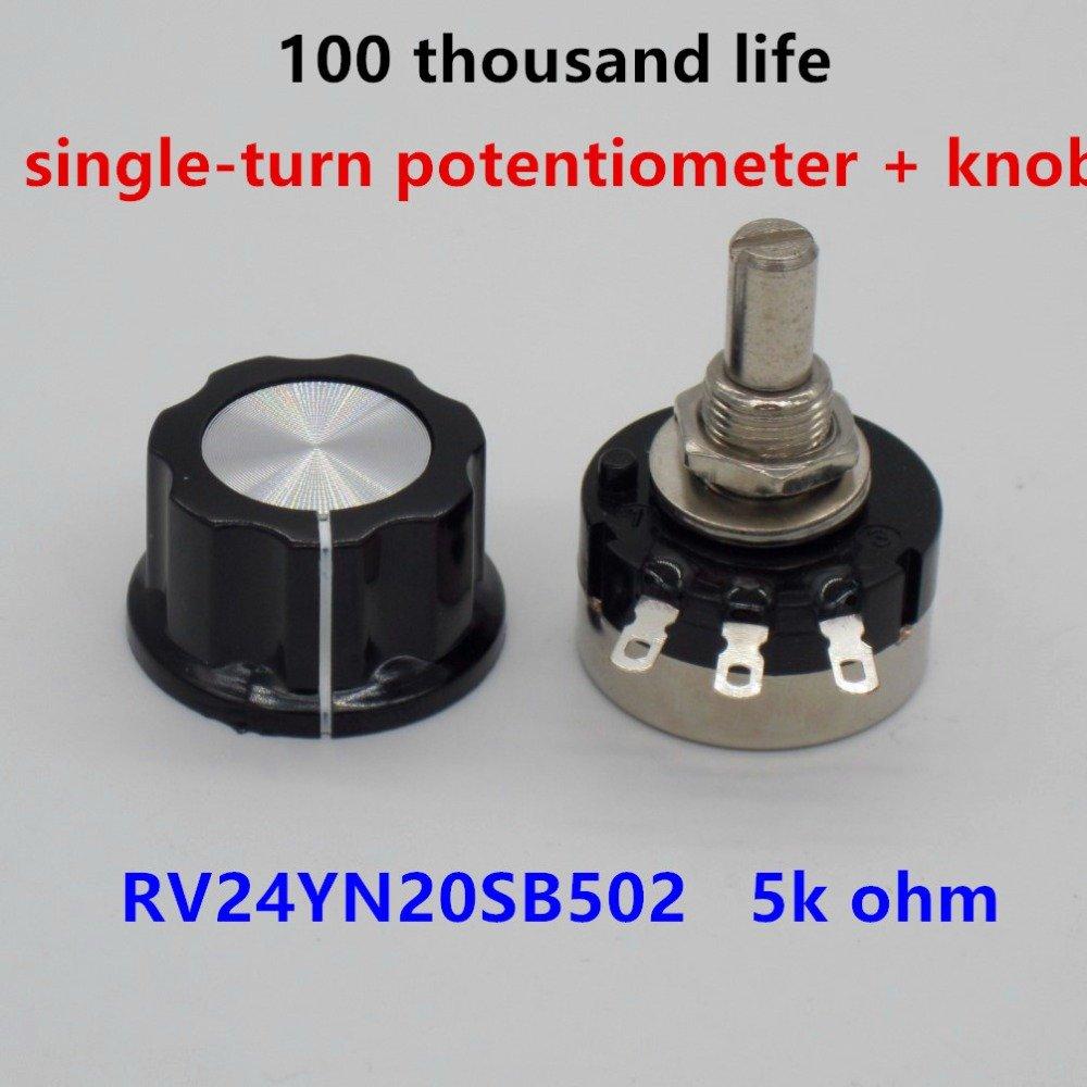 Taiss 2pcs RV24YN20S B502 5K ohm Carbon film potentiometer single-turn potentiometer + 2pcs A03 knob by Taiss (Image #2)