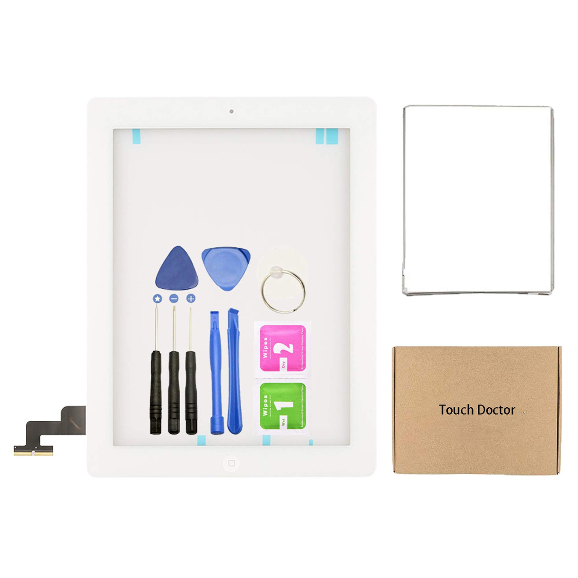 Touch Doctor White Digitizer/Touch Screen Replacement with Home Button with Adhesive & Bezel for iPad 2 with Tool