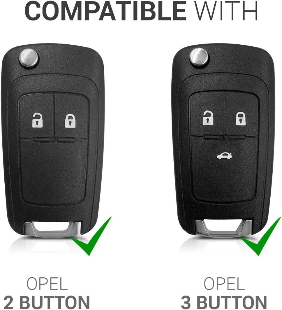 Suave kwmobile Funda para Llave Plegable de 2-3 Botones para Coche Opel Vauxhall para Llaves TPU de Carcasa Cover de Mando y Control de Auto en Dorado Brillante