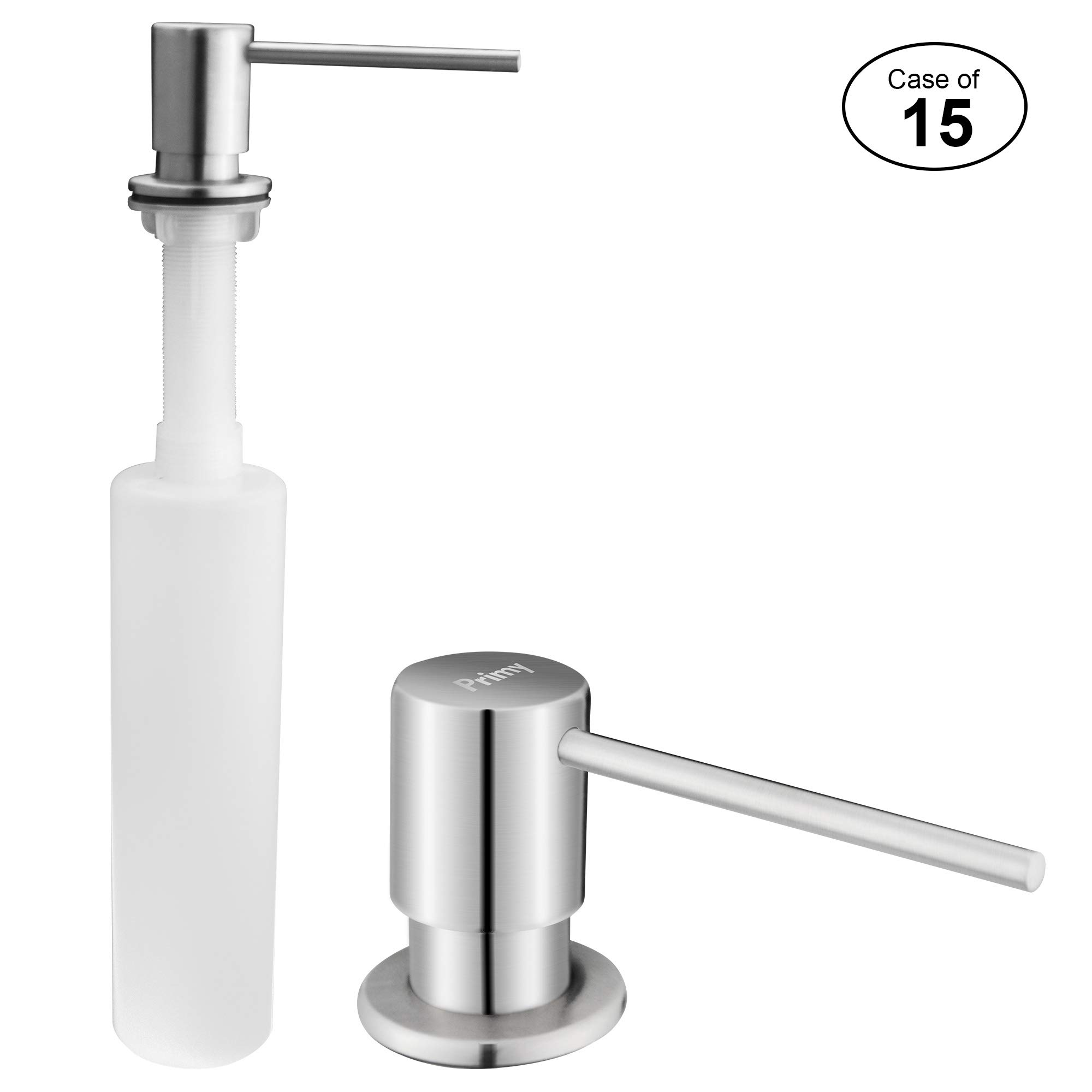 Case of 15, Primy Soap Dispenser for Kitchen Sink Refill From The Top with Large 17 oz Bottle - 3.5 Inch Threaded Tube for Granite Installation -Stainless Steel Dispenser
