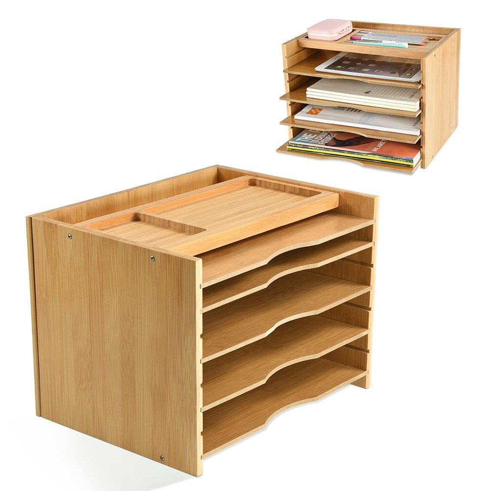 Bamboo File Organizer Desk Paper Sorter with 5 Adjustable Shelves Dividers Workspace Organizer with Top Storage Parts