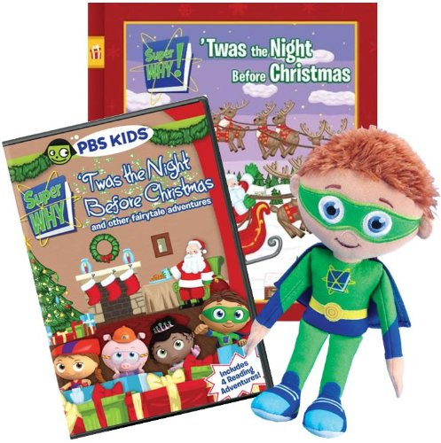 Super Why! Christmas 3-Pack (Book, DVD & Plush)