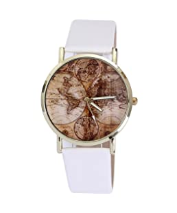 COOKI Womens Map Watch, Unique Quartz Analog Fashion Lady Watches Female Watches Casual Wrist Watches for Women,Round Dial Case Comfortable PU Leather Watch-H58 (White)