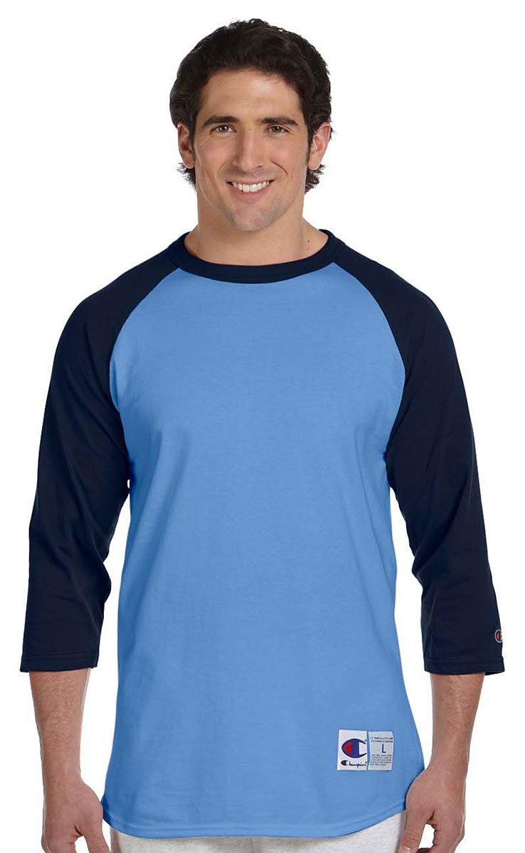 Champion Men's Raglan Baseball T-Shirt, Light Blue/Navy, Medium