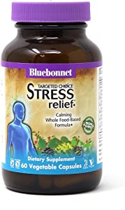 Bluebonnet Nutrition Targeted Choice Stress Relief, Whole Food-Based Formula, For Emotional Physical and Mental Stress, Soy-Free, Gluten-Free, Kosher, Non-GMO, Dairy-Free, Vegan, 60 Vegetable Capsules