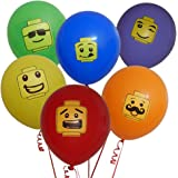 """36 12"""" Party Balloons for Lego - Inspired Building Block Party, 6 Colors in 6 Fun Characters!"""