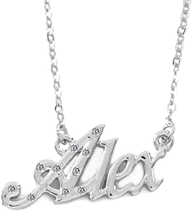 18K Gold PlatedGirlfriend Mother/'s Day Gift Valentines Name Necklace Alex