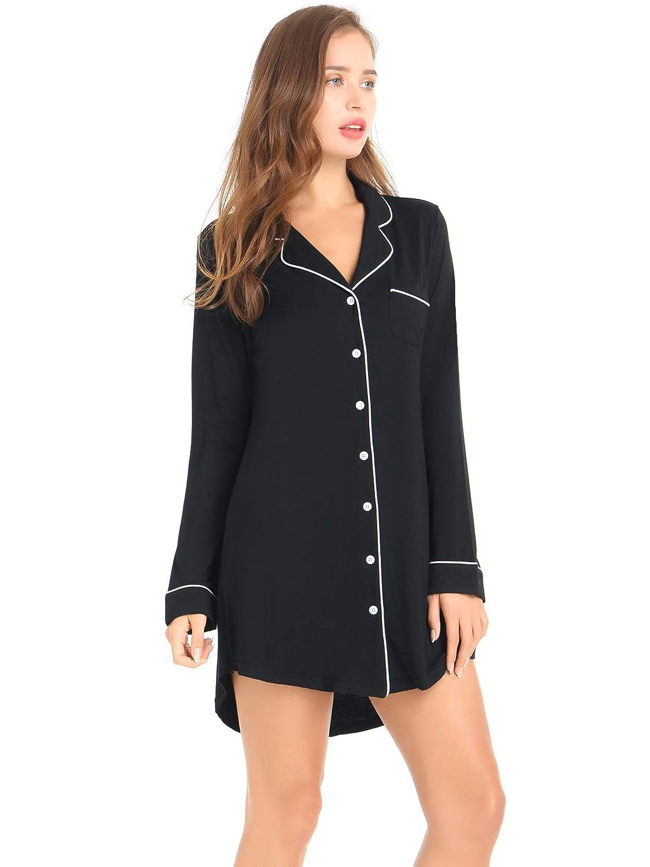 fd9ca0de49 Amorbella Womens Button Down Nightshirt Long Sleeve Sleep Shirt Soft Pajama  Top Nightgown at Amazon Women s Clothing store