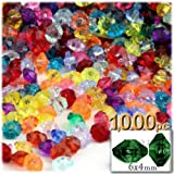 1,000pc Faceted Plastic Transparent Beads Rondelle 6x4mm Multi Mix beads